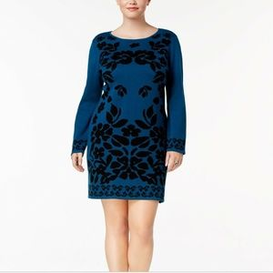 Ny Collection Plus Size Jacquard Sweater Dress, 3X